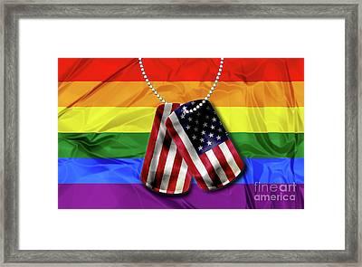 Dogtags With Rainbow Flag Framed Print