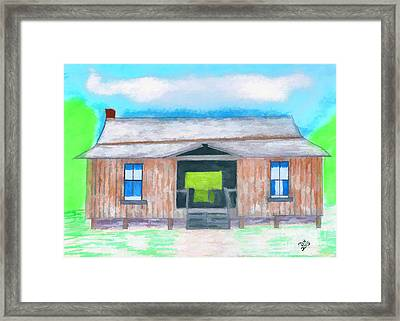Dogtrot Cracker Home Drawing Framed Print