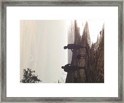 Dogwalk On The Beach Framed Print