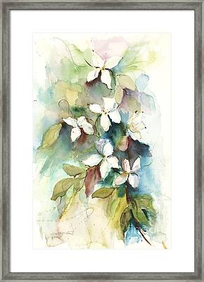 Framed Print featuring the painting Dogwood Branch by Sandra Strohschein