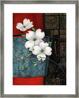 Dogwood Teal And Gold Framed Print by Lucy West