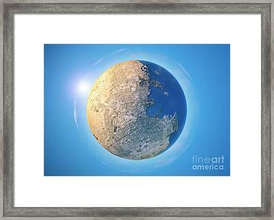 Doha 3d Little Planet 360-degree Sphere Panorama Framed Print