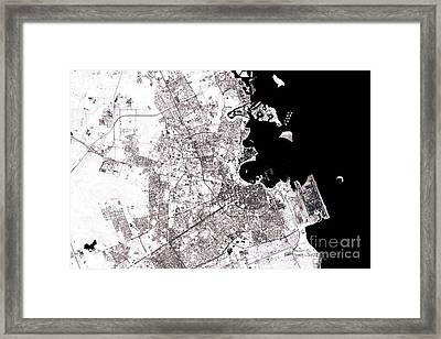 Doha Abstract City Map Black And White Framed Print