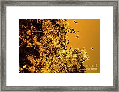 Doha Abstract City Map Golden Framed Print by Frank Ramspott