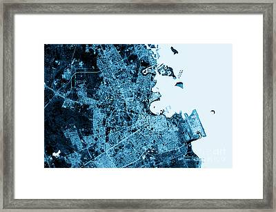 Doha Abstract City Map Top View Dark Framed Print