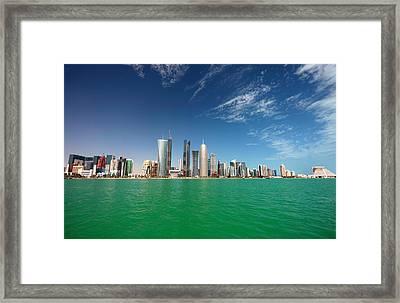 Doha Skyline Framed Print by Paul Cowan