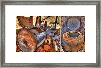 Doing Laundry In The Past Framed Print by Donna Kennedy