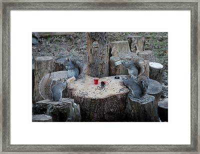 Doing Some Drinking On The Log Framed Print by Dan Friend