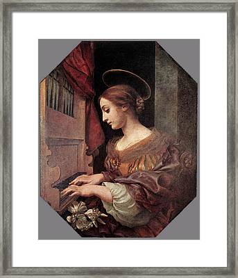 Dolci Carlo St Cecilia At The Organ Framed Print