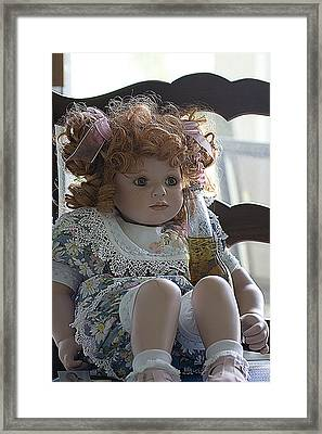 Doll Sitting In Chair With Bottle Of Beer Framed Print by Christopher Purcell