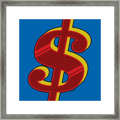 Framed Print featuring the digital art Dollar Sign Red by Ron Magnes