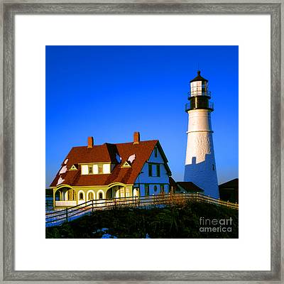 Framed Print featuring the photograph Dollhouse Portland Head Light by Olivier Le Queinec