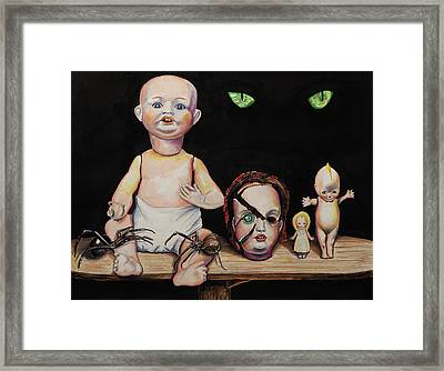 Dolls And Spiders Framed Print