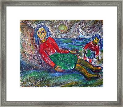 Dolls On The Beach Framed Print
