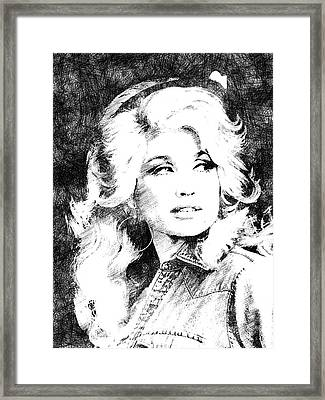 Dolly Parton Bw Portrait Framed Print by Mihaela Pater