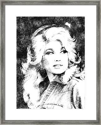 Dolly Parton Bw Portrait Framed Print