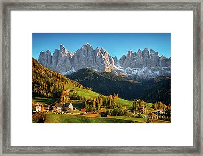 Dolomite Village In Autumn Framed Print