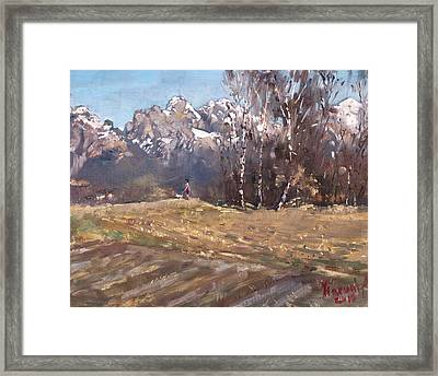 Dolomites And A Lady With A Little Dog Framed Print
