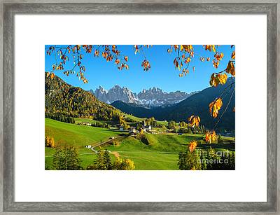 Dolomites Mountain Village In Autumn In Italy Framed Print