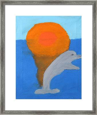 Dolphin At Sunset Framed Print by Melissa Parks