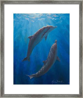 Dolphin Dance - Underwater Whales Framed Print by Karen Whitworth