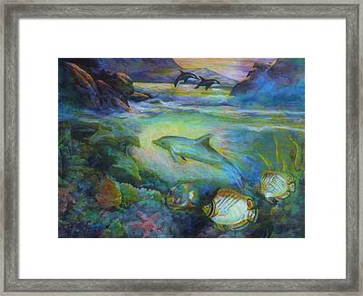 Framed Print featuring the painting Dolphin Fantasy by Denise Fulmer