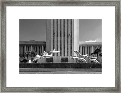Dolphin Fountain In Black And White Framed Print by Frank Feliciano