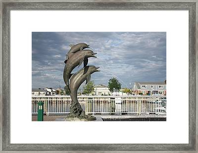 Dolphin Fountain On The Nautical Mile In Freeport Long Island Framed Print