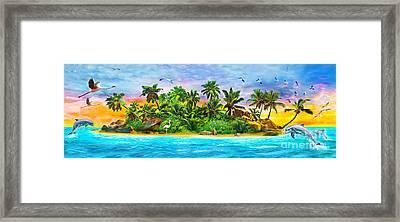 Dolphin Paradise Island Variant 1 Framed Print by Jan Patrik Krasny