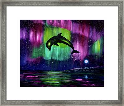 Dolphin Playing In Northern Lights Framed Print by Laura Iverson