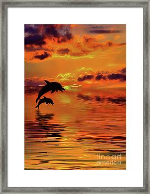Dolphin Silhouette Sunset By Kaye Menner Framed Print