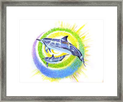Dolphin -spiral Framed Print by Tamara Tavernier