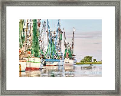 Dolphin Tail - Docked Shrimp Boats Framed Print