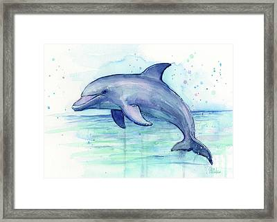Dolphin Watercolor Framed Print by Olga Shvartsur