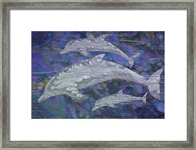 Dolphins - Beneath The Waves Series Framed Print by Jack Zulli