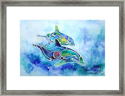 Dolphins Dance Framed Print