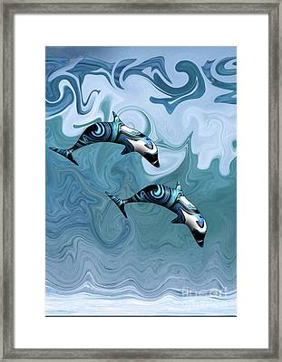 Dolphins Playing In The Waves Framed Print