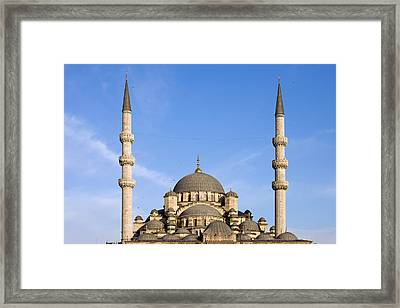 Domes And Minarets Of New Mosque In Istanbul Framed Print by Artur Bogacki
