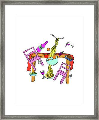 Domestic Chaos - Dining Room In Color Framed Print