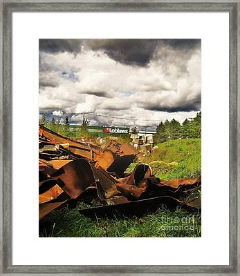 Domfer Deconstruction Twisted Metal Framed Print by Reb Frost