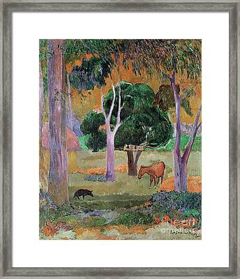 Dominican Landscape Framed Print by Paul Gauguin