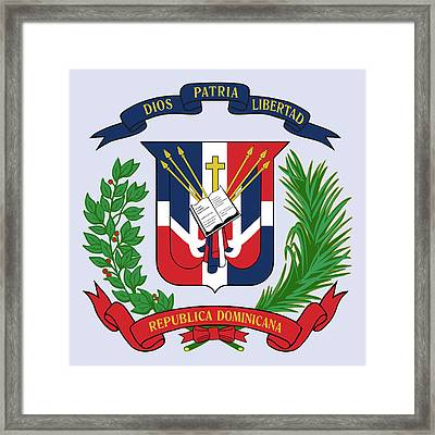 Framed Print featuring the drawing Dominican Republic Coat Of Arms by Movie Poster Prints