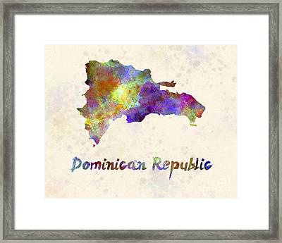 Dominican Republic In Watercolor Framed Print by Pablo Romero