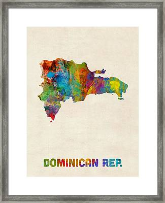 Dominican Republic Watercolor Map Framed Print by Michael Tompsett