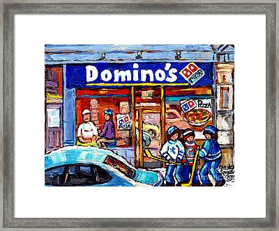 Domino's Pizza Montreal Storefront And Restaurant Painting Winter Hockey Scene Carole Spandau Art    Framed Print
