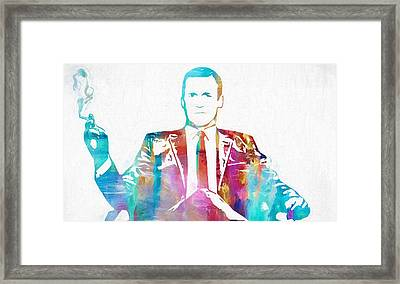 Don Draper Smoking Framed Print by Dan Sproul