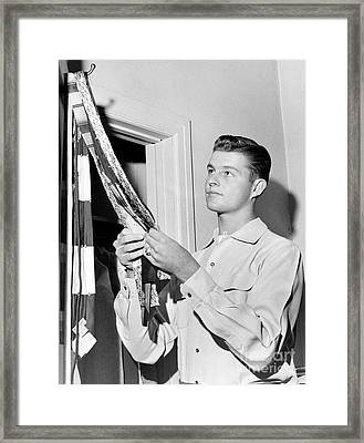 Don Drysdale Professonal Baseball Pitcher, Decides On A Tie For Game Day Angainst The Giants. 1956 Framed Print by Barney Stein