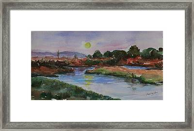 Framed Print featuring the painting Don Edwards San Francisco Bay National Wildlife Refuge Landscape 1 by Xueling Zou