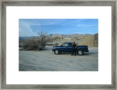 Don Kreuter And Truck In Dry Wash Framed Print