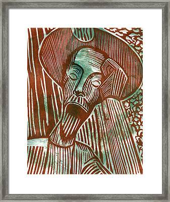 Don Quixote In Green And Brown Framed Print by Sheryl Karas